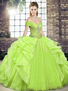 Flare Sleeveless Floor Length Beading and Ruffles Lace Up Ball Gown Prom Dress with Yellow Green