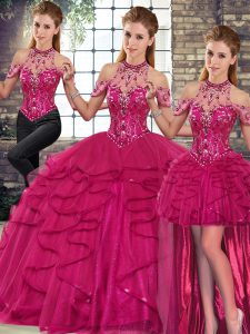 Sleeveless Tulle Floor Length Lace Up 15th Birthday Dress in Fuchsia with Beading and Ruffles