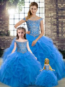 Vintage Off The Shoulder Sleeveless Quinceanera Dress Brush Train Beading and Ruffles Blue Tulle