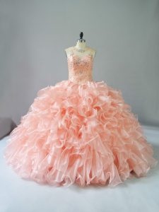 Peach Scoop Neckline Beading and Ruffles Vestidos de Quinceanera Sleeveless Lace Up