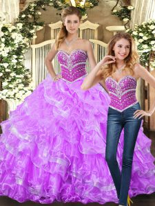 Lilac Ball Gowns Organza Sweetheart Sleeveless Beading and Ruffles Floor Length Lace Up Sweet 16 Dresses