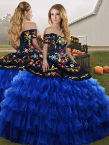 Blue And Black Organza Lace Up Off The Shoulder Sleeveless Floor Length Quince Ball Gowns Embroidery and Ruffled Layers
