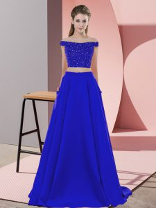Beading Prom Gown Blue Backless Sleeveless Sweep Train