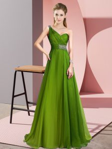 Modern Olive Green Prom Dress One Shoulder Sleeveless Brush Train Criss Cross