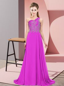 Trendy Purple Empire One Shoulder Sleeveless Chiffon Floor Length Side Zipper Beading