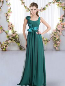 Pretty Peacock Green Empire Straps Sleeveless Chiffon Floor Length Zipper Belt and Hand Made Flower Quinceanera Dama Dress