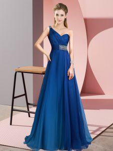 Fancy Blue Chiffon Criss Cross Sleeveless Brush Train Beading
