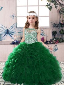 Scoop Sleeveless Organza Glitz Pageant Dress Beading and Ruffles Lace Up