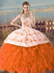 Spectacular Ball Gowns Sleeveless Orange and Rust Red Sweet 16 Dress Court Train Lace Up