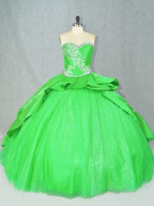 Tulle Lace Up Sweetheart Sleeveless Quinceanera Gown Brush Train Embroidery
