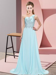 Light Blue Sleeveless Floor Length Beading Side Zipper Custom Made Pageant Dress
