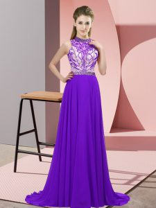 Purple Empire Beading Prom Party Dress Backless Chiffon Sleeveless