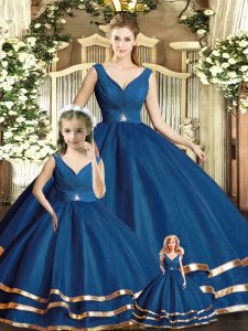 Adorable V-neck Sleeveless Backless Vestidos de Quinceanera Navy Blue Tulle