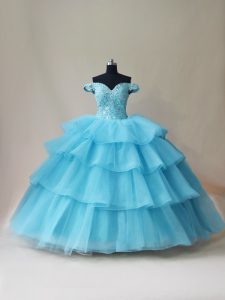 Off The Shoulder Sleeveless Quinceanera Dress Floor Length Beading and Ruffled Layers Aqua Blue Organza and Tulle