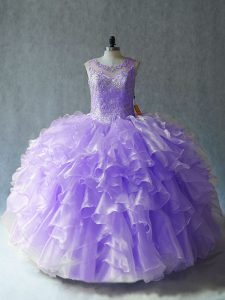 Floor Length Lavender Sweet 16 Dresses Scoop Sleeveless Lace Up