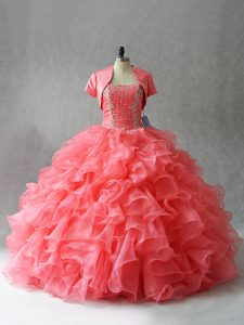 Beauteous Watermelon Red Organza and Tulle Lace Up Strapless Sleeveless Floor Length 15 Quinceanera Dress Beading