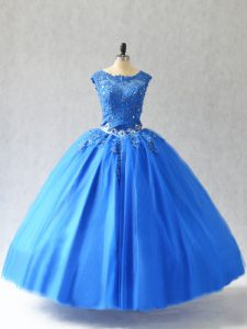 Admirable Blue Sweet 16 Dress Sweet 16 and Quinceanera with Beading and Appliques Scoop Sleeveless Lace Up