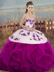 Sleeveless Floor Length Embroidery and Ruffles and Bowknot Lace Up Quinceanera Gowns with Fuchsia