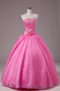 Rose Pink Ball Gowns Organza Strapless Sleeveless Embroidery Floor Length Lace Up Sweet 16 Dress
