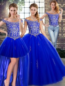 Floor Length Royal Blue Sweet 16 Dress Off The Shoulder Sleeveless Lace Up