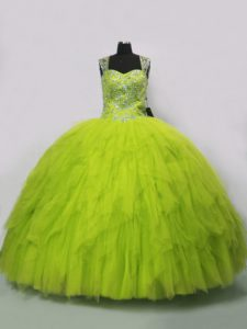 Yellow Green Tulle Lace Up Straps Sleeveless Floor Length Quinceanera Dress Beading and Ruffles