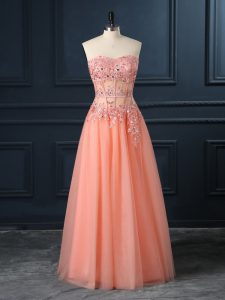 Floor Length Orange Homecoming Dress Sweetheart Sleeveless Zipper