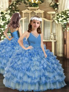 Floor Length Blue Pageant Dress for Womens Organza Sleeveless Ruffled Layers