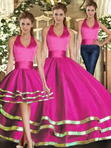 Cute Tulle Halter Top Sleeveless Lace Up Ruffled Layers Quinceanera Dress in Fuchsia