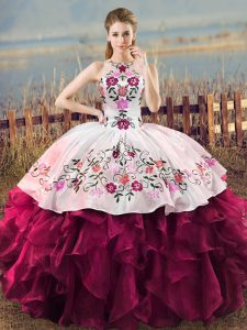 Amazing Fuchsia Ball Gowns Halter Top Sleeveless Organza Floor Length Lace Up Embroidery and Ruffles Sweet 16 Dresses
