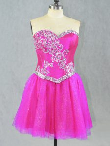 Sleeveless Mini Length Beading Lace Up Prom Dress with Fuchsia