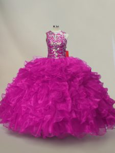 Inexpensive Scoop Sleeveless Vestidos de Quinceanera Floor Length Ruffles and Sequins Fuchsia Organza