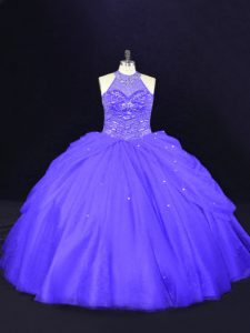 High Class Floor Length Purple Quince Ball Gowns Halter Top Sleeveless Lace Up