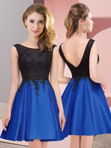 Best Selling Scoop Sleeveless Wedding Party Dress Mini Length Lace Royal Blue Satin