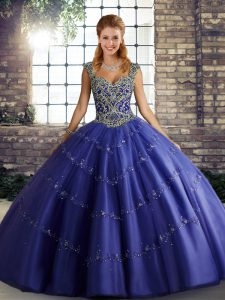 Ideal Purple Straps Lace Up Beading and Appliques Quinceanera Dress Sleeveless