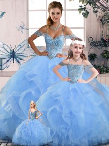 Custom Designed Blue Quinceanera Dress Sweet 16 and Quinceanera with Beading and Ruffles Off The Shoulder Sleeveless Lace Up