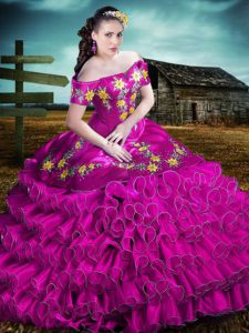 High Quality Fuchsia Sleeveless Organza Lace Up Quinceanera Gowns for Sweet 16 and Quinceanera