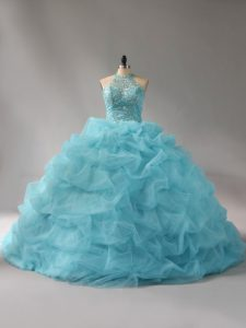 Great Aqua Blue Ball Gowns Beading and Pick Ups 15 Quinceanera Dress Lace Up Organza Sleeveless