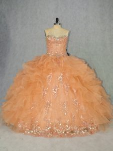Nice Orange Ball Gowns Organza Sweetheart Sleeveless Beading and Ruffles Lace Up 15th Birthday Dress