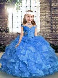 Straps Sleeveless Organza High School Pageant Dress Beading and Ruffles and Ruching Lace Up