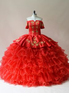 Modest Ball Gowns Quinceanera Dresses Red Off The Shoulder Organza Sleeveless Floor Length Lace Up