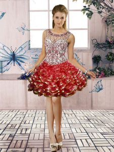 Classical Mini Length Red Prom Dress Organza Sleeveless Beading and Ruffled Layers