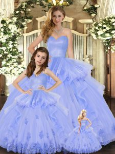 Stylish Ball Gowns Vestidos de Quinceanera Lavender Sweetheart Tulle Sleeveless Floor Length Lace Up