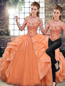 Orange Sleeveless Beading and Ruffles Floor Length Quinceanera Dress