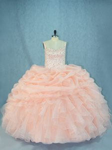 Excellent Peach Lace Up Sweet 16 Quinceanera Dress Beading Sleeveless