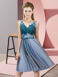 Blue Sleeveless Knee Length Appliques Lace Up Quinceanera Dama Dress