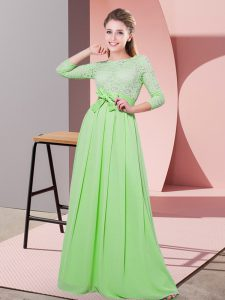Low Price Side Zipper Scoop Lace and Belt Bridesmaids Dress Chiffon 3 4 Length Sleeve