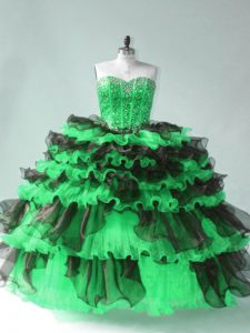 Comfortable Sweetheart Sleeveless Quinceanera Dresses Floor Length Beading and Ruffled Layers Green Organza