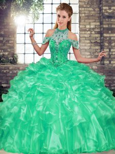 Perfect Turquoise Sleeveless Beading and Ruffles Floor Length Quinceanera Gown