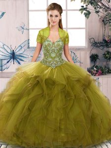 Discount Floor Length Olive Green Ball Gown Prom Dress Tulle Sleeveless Beading and Ruffles