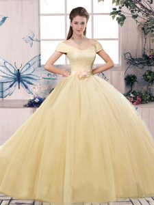 Charming Short Sleeves Tulle Floor Length Lace Up Quinceanera Gown in Champagne with Lace and Hand Made Flower